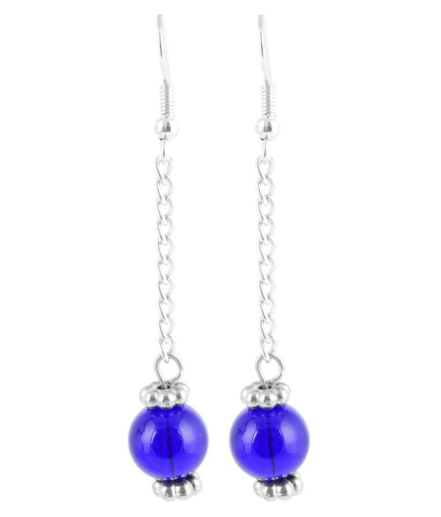 Beadworks Blue Designer Drop Earrings