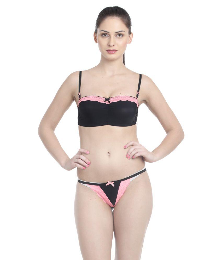 6046b7ed80 Buy Little Lacy Orange Nylon Spandex Bra   Panty Sets Online at Best Prices  in India - Snapdeal