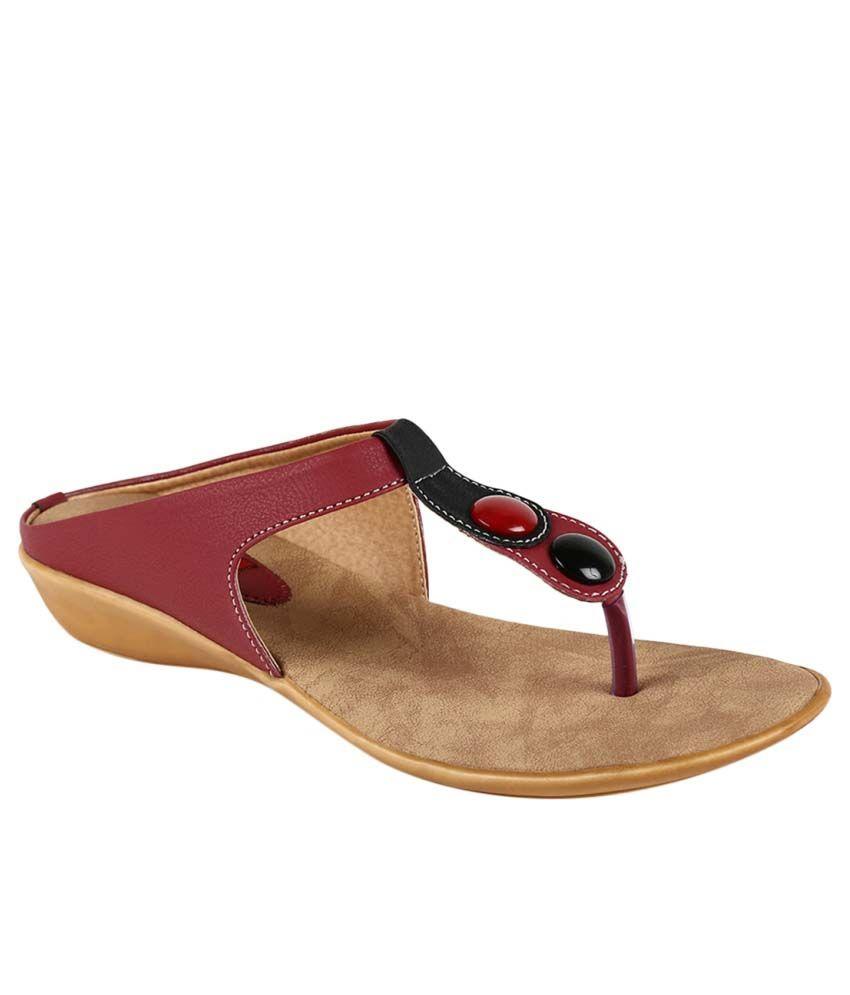 Olvin Red Wedges Heels