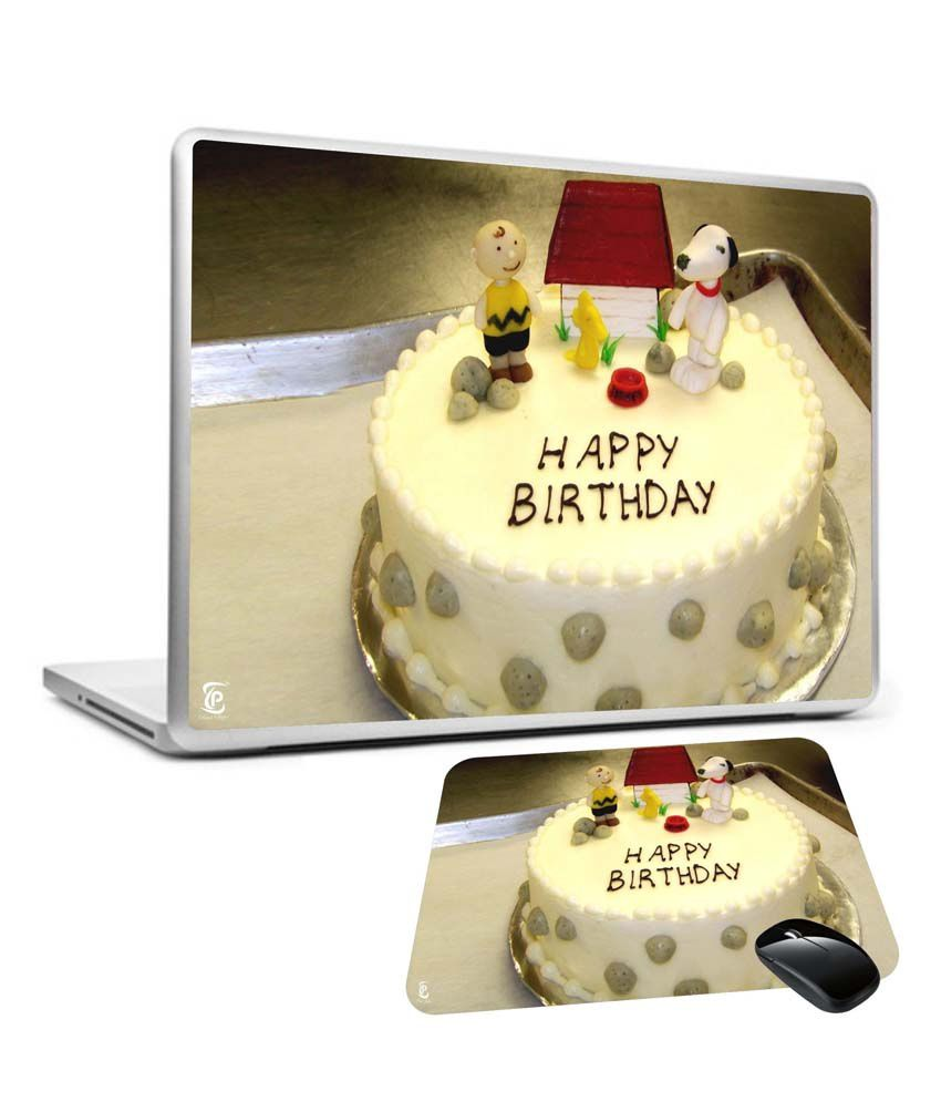 Print Shapes 156 Happy Birthday Cake Laptop Skin With Mouse Pad