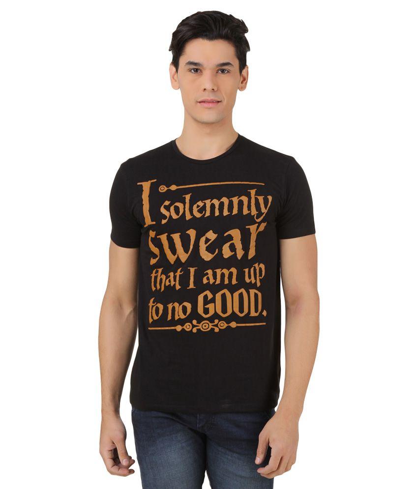 Harry Potter Black Printed T-Shirt