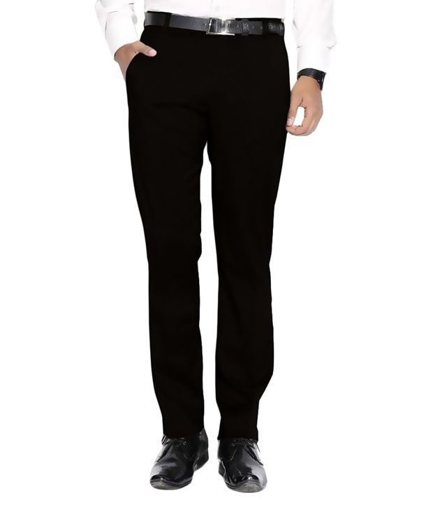 ARAGON Black Regular Fit Flat Trousers