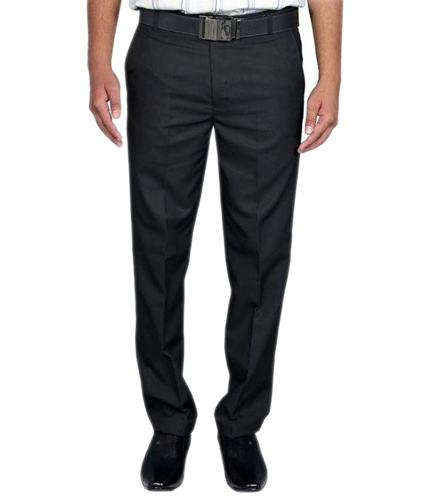 Aragon Black Regular Fit Flat Formal Trousers