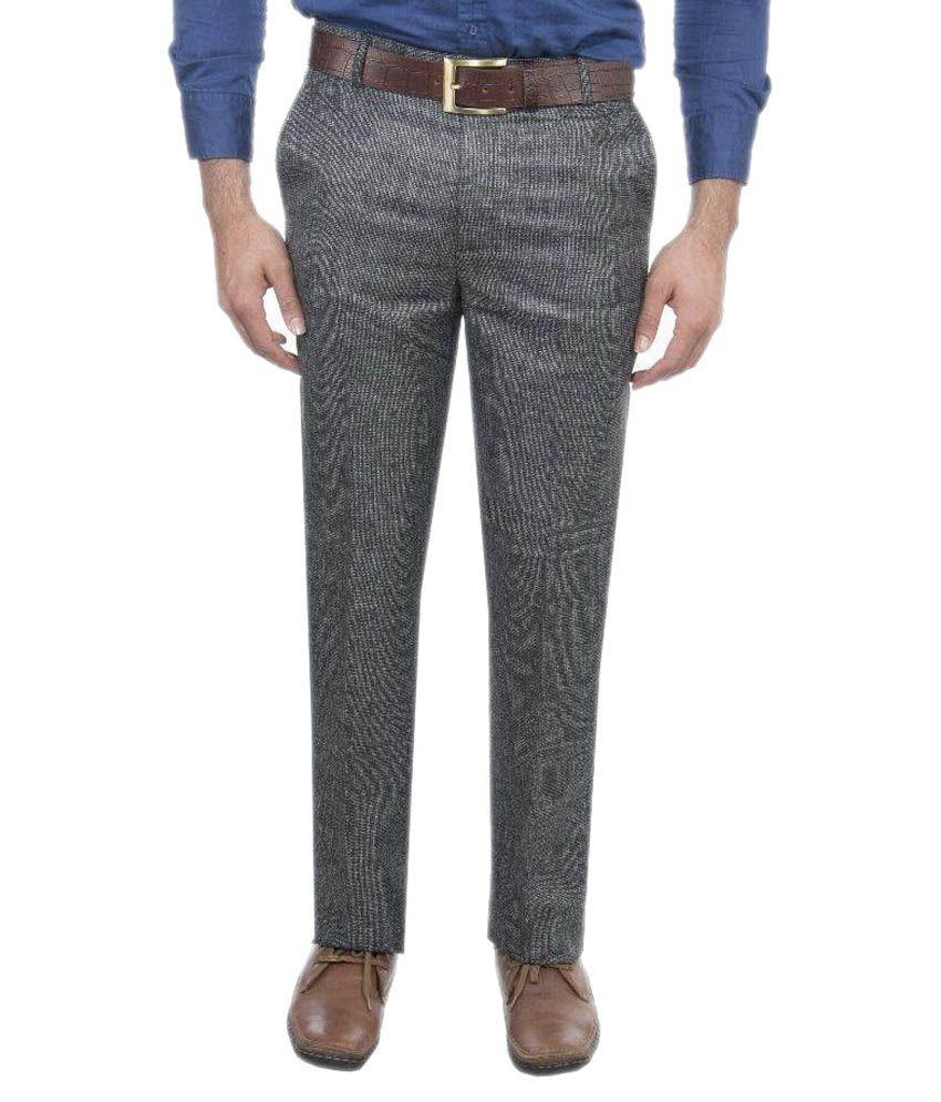 Aragon Blackpattern Regular Fit Flat Formal Trousers