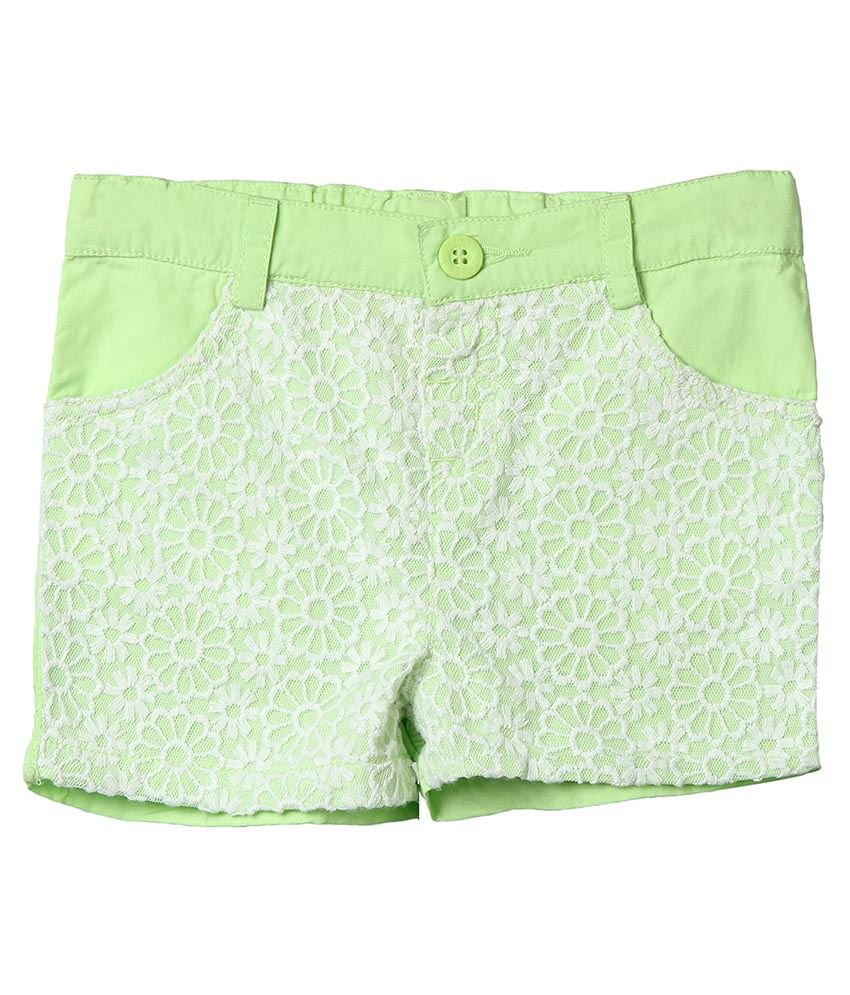 Beebay Green Cotton Shorts For Girls