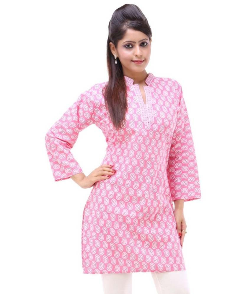 Razwada Pink Straight Cotton Kurti