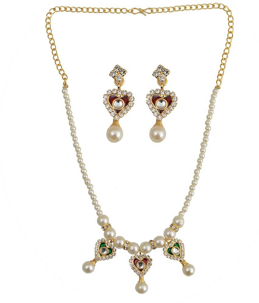 Taj Pearl Multicolour Alloy Necklace Set
