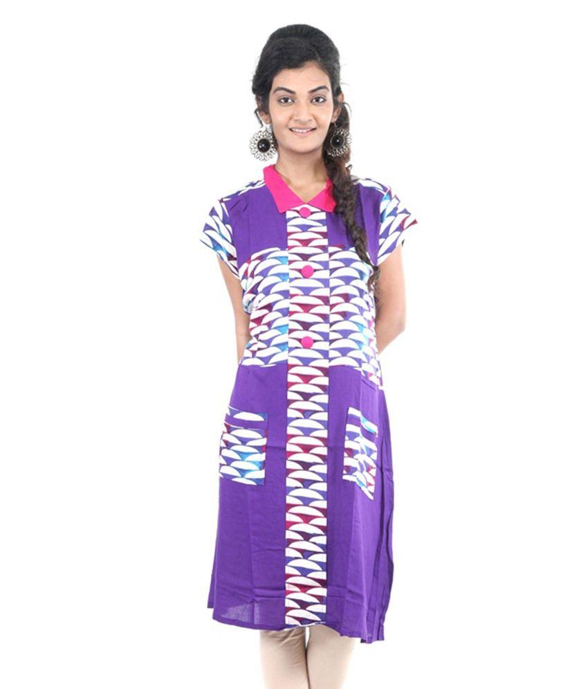Akshi Purple Straight Poly Rayon Kurti
