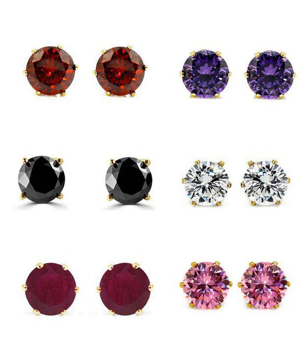 Archi Collection Multicolour Alloy Stud Earrings - Set of 6