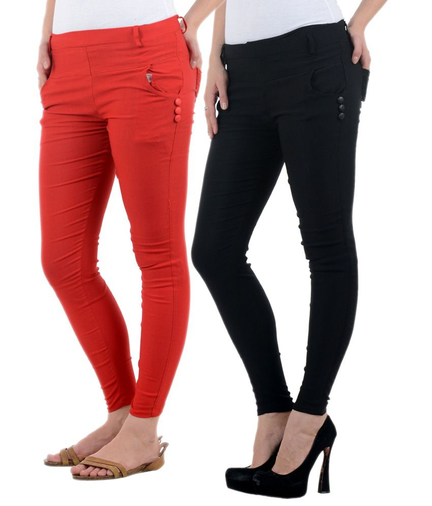 New Fashion Red Cotton Lycra Jeggings
