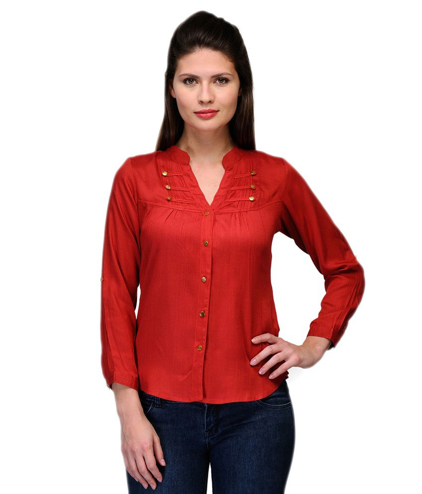 Purplicious Red Cotton Shirts