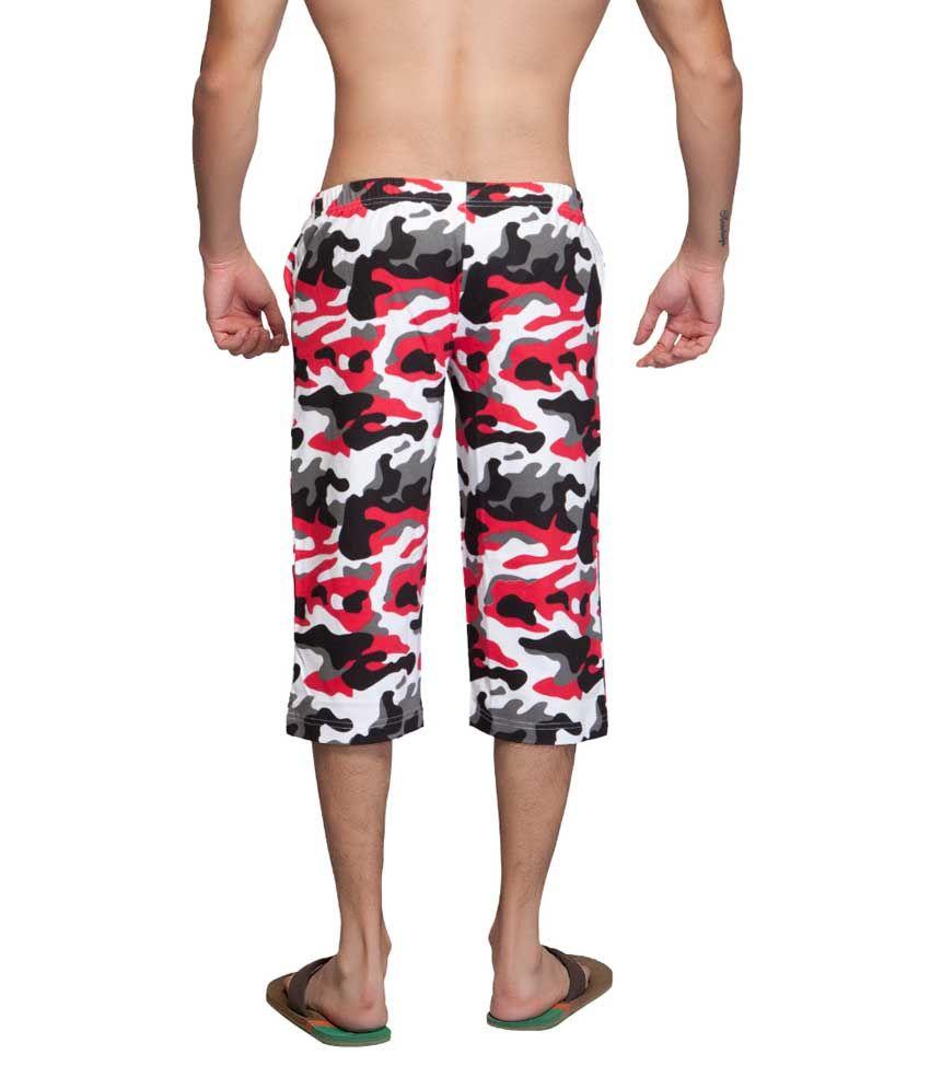 Clifton Fitness Men's Army Capri- White/Red