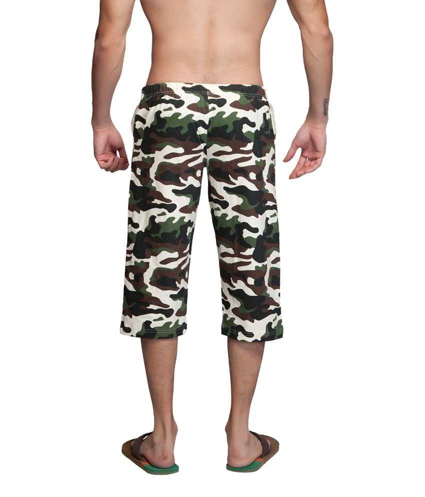 Clifton Fitness Men's Army Capri- OFF White