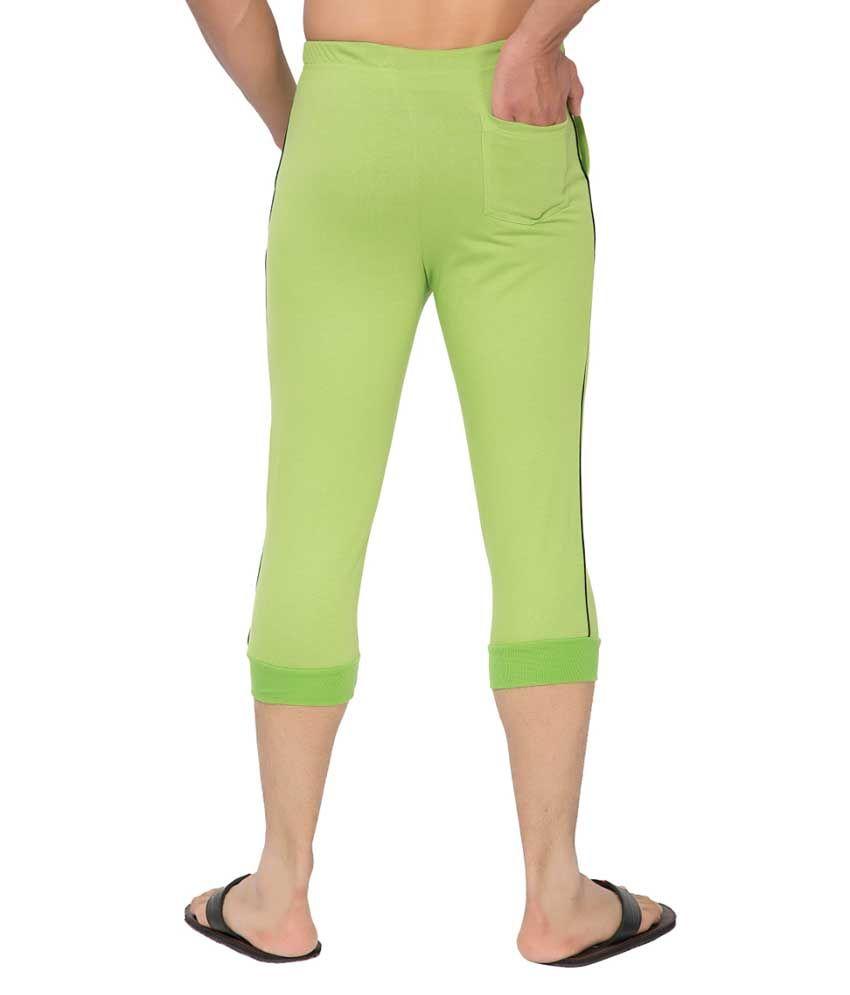 Clifton Fitness Men's Thin Stripe Comfort Capri- Parrot Green.Black