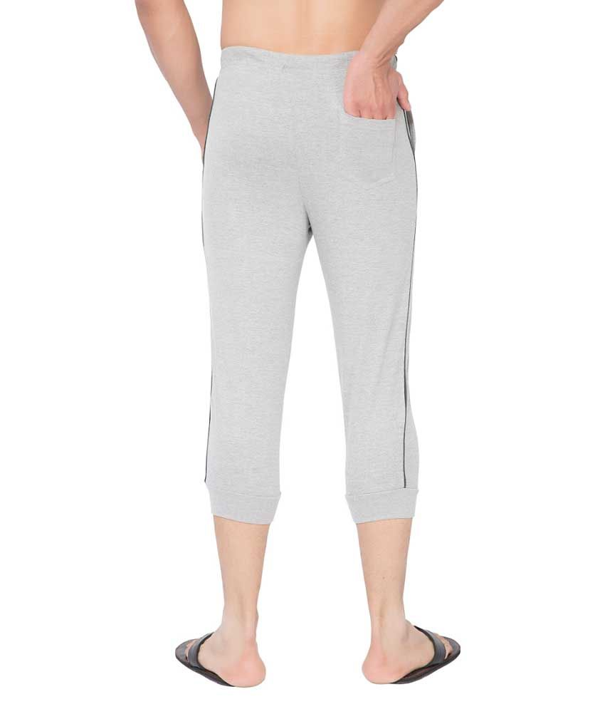 Clifton Fitness Men's Thin Stripe Comfort Capri- Grey Melange.Charcoal Melange