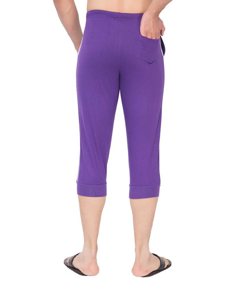 Clifton Fitness Men's Thin Stripe Comfort Capri- Purple.White