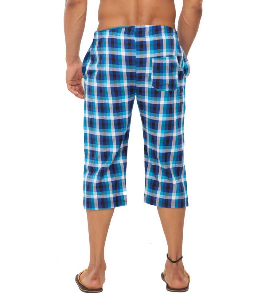 Clifton Fitness Men's Woven Capri- RayalBlue/White Checks