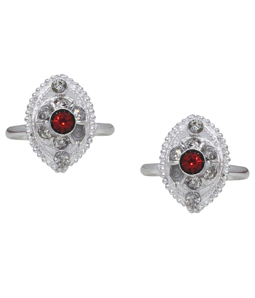 Bhavika Silver & Maroon German Silver Toe Rings
