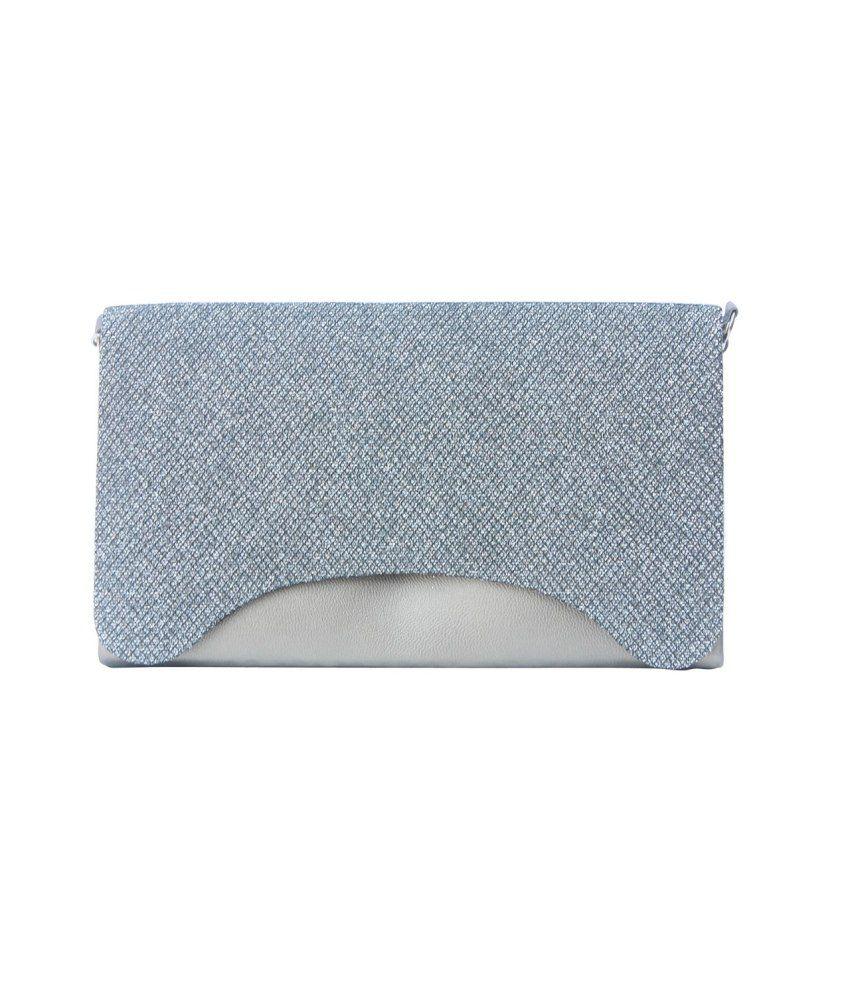 Craftbazar Gray Fabric Clutch