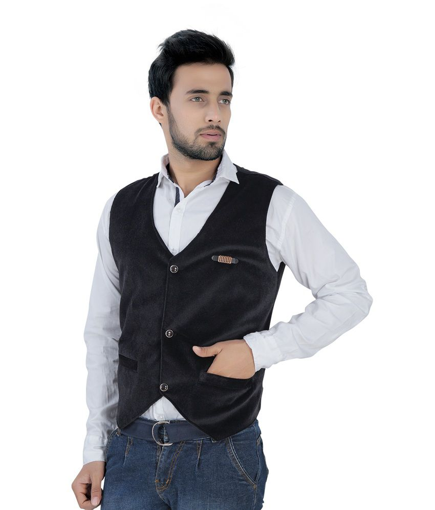 V-mens Black Casual Waistcoats