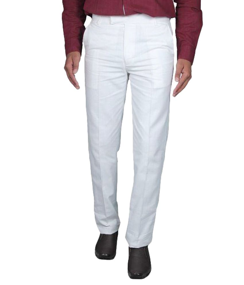 Aragon White Linen Regular Fit Flat Formal Trousers