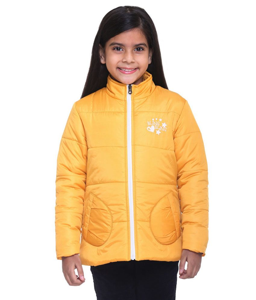 Kids-17 Yellow Polyester Padded Jacket