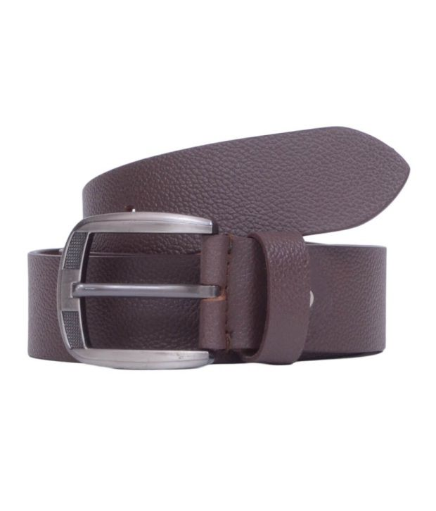 Snoby Brown Leather Pin Buckle Belt for Men