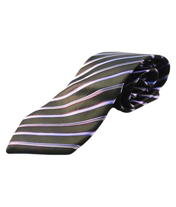Kalon Black Silk Broad Tie For Men With Cuffs And Handkerchief