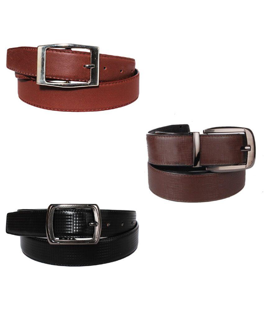 Lenin Brown and Black Leather Belt for Men - Pack of 3