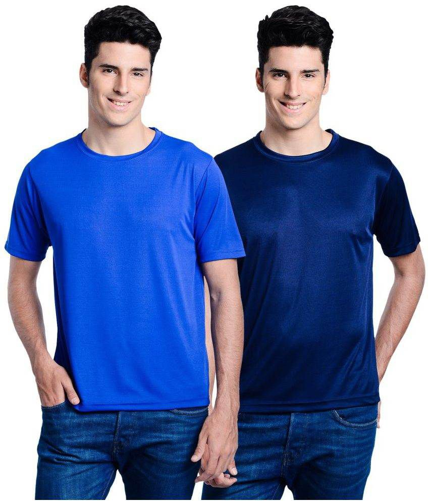 Lime Blue Round T Shirts With Navy T-Shirt