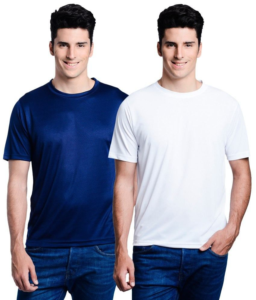 Lime White Round T Shirts With Navy T-Shirt