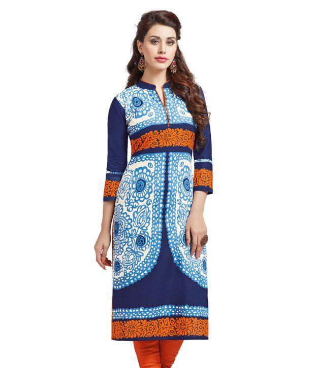 Salwar Studio Blue Cotton Unstitched Kurti
