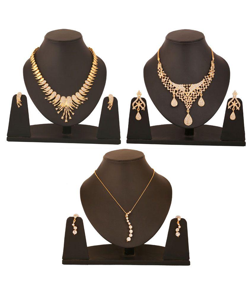 Touchstone Golden Alloy Combo Of 2 Necklace Set & 1 Pendant Set