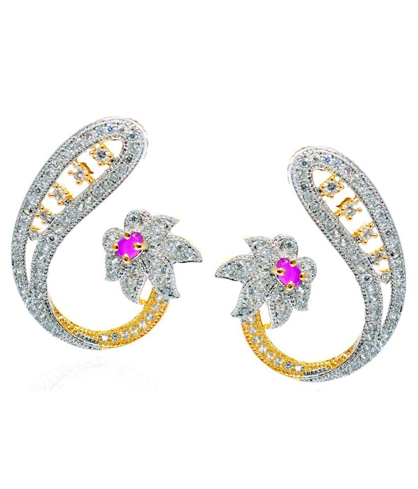 Zebs Collection White Alloy Stud Earrings