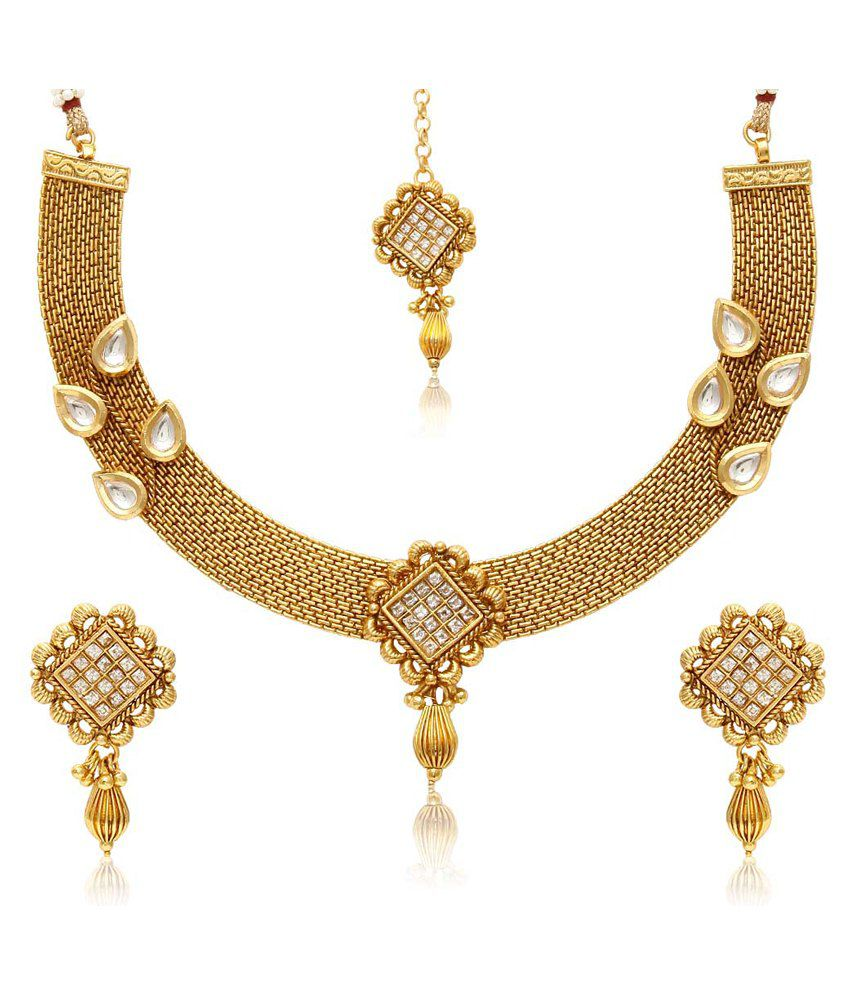 Jewels Galaxy Royal Gold Plated Designer Kundan Necklace Set With