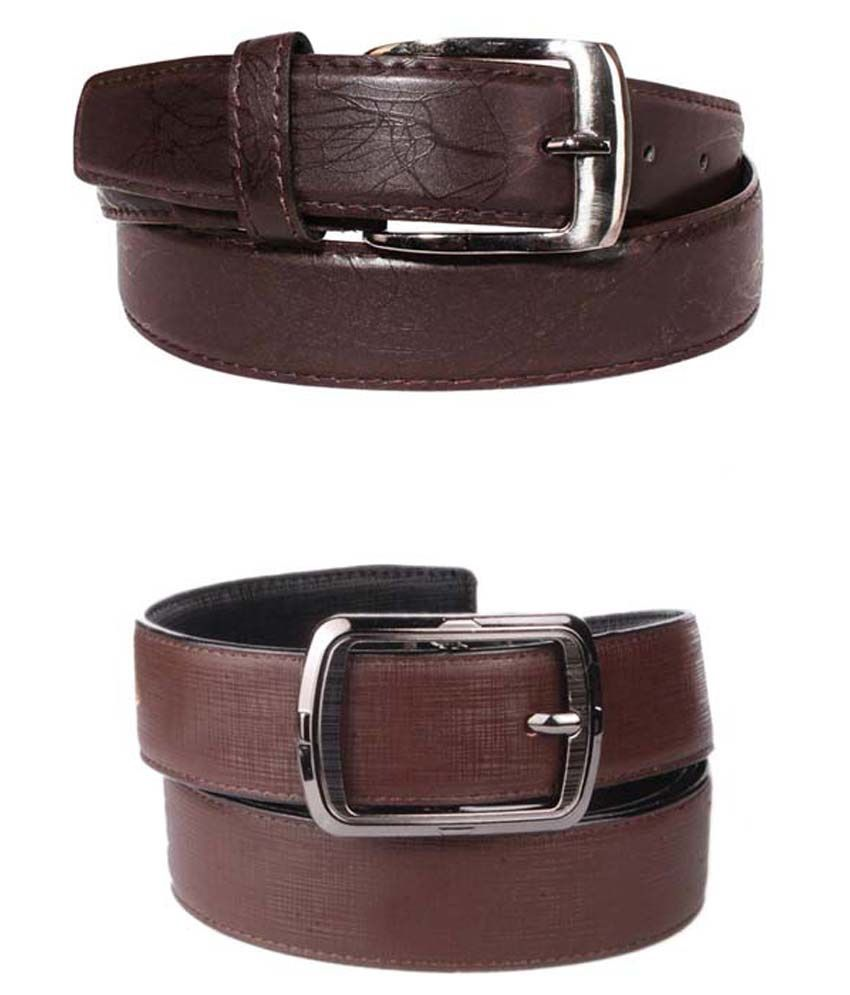 Lenin Brown Leather Belts For Men Set Of 2