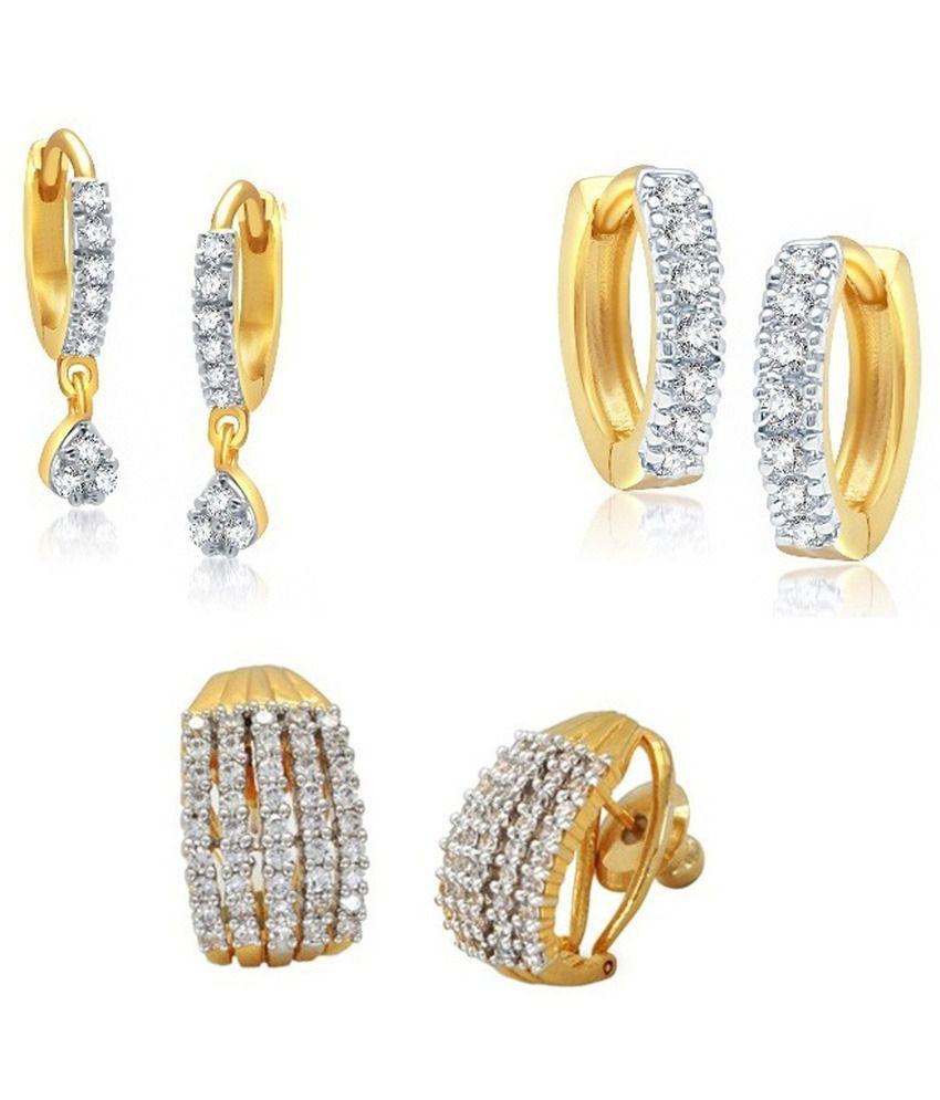 Penny Jewels Golden Alloy Bali Earrings - Set of 3