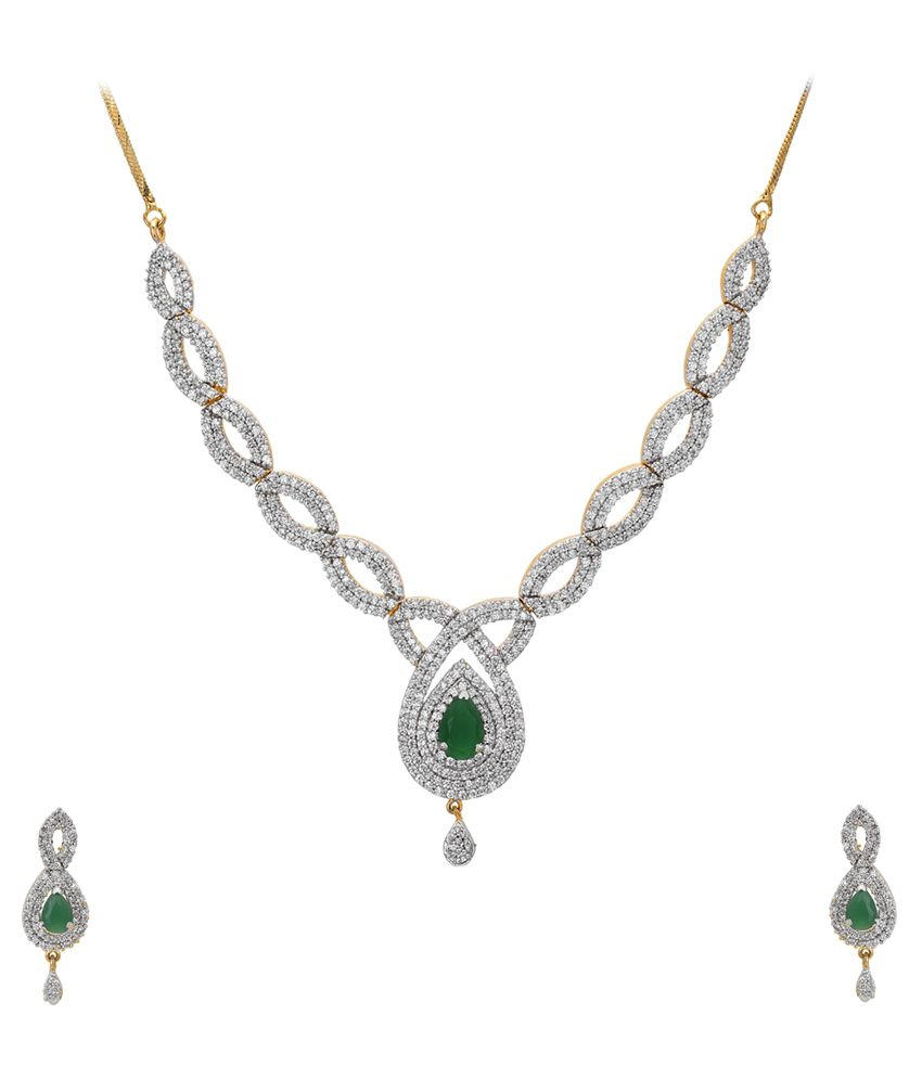 VD2 Silver and Green American Diamond Necklace Set