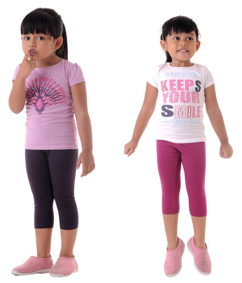 Metro Collections Pink & Black Capris For Girls Set Of 2