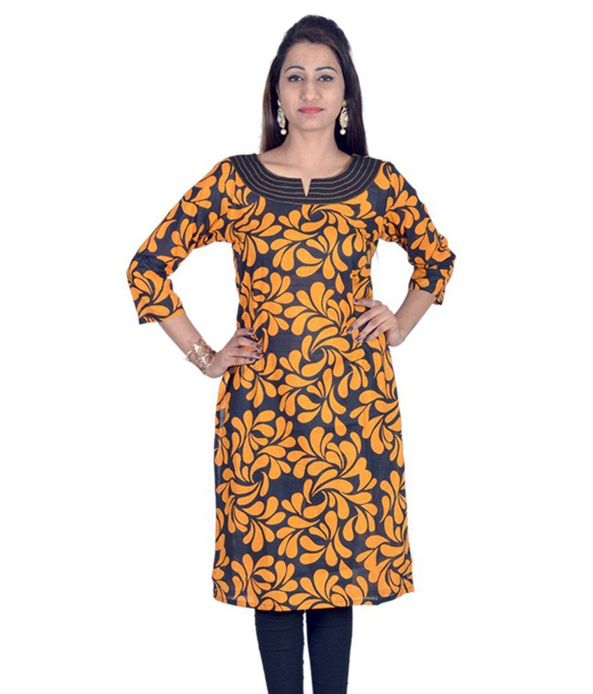 16a4284adc67 Indicot Yellow Cotton Straight Kurti - Buy Indicot Yellow Cotton Straight  Kurti Online at Best Prices in India on Snapdeal