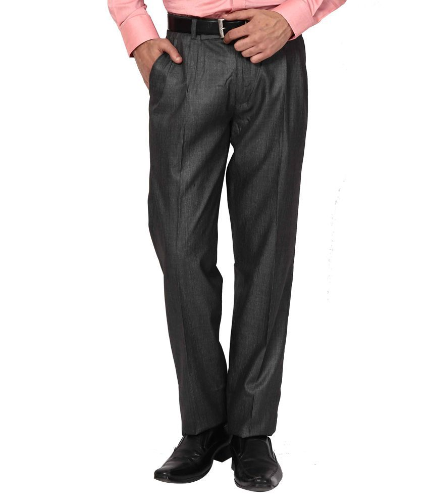 Praado Black Regular Fit Pleated Trousers
