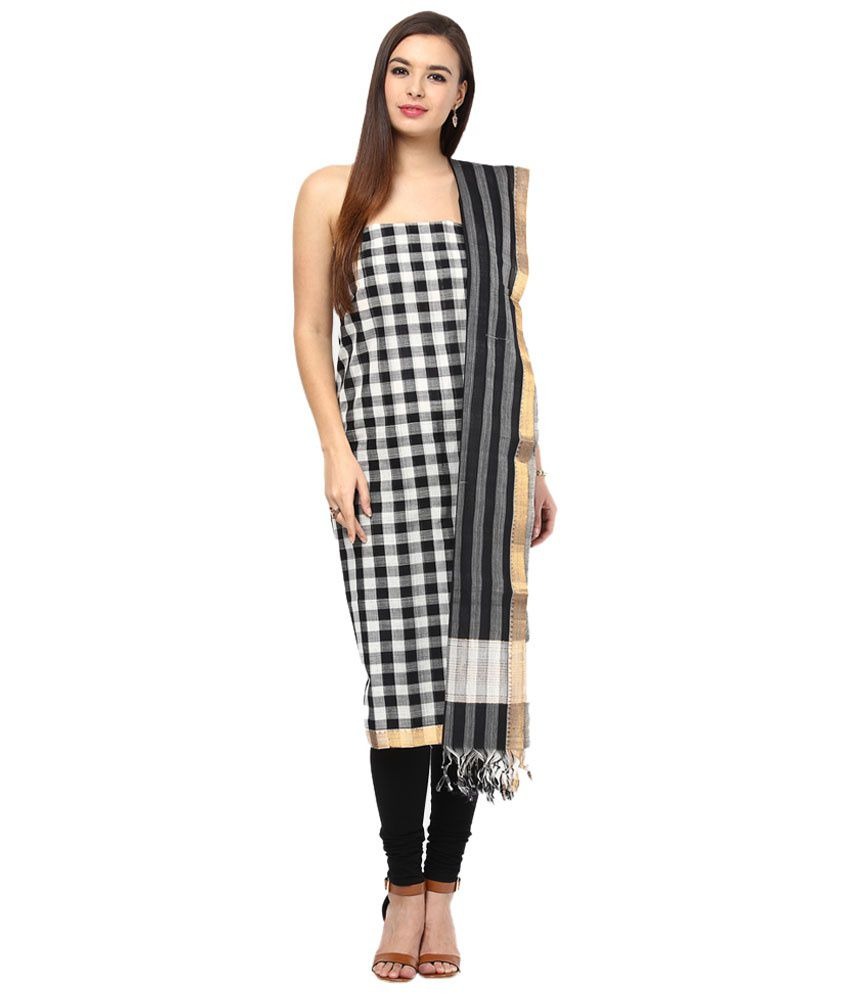 APCO Black Cotton Straight Unstitched Dress Material
