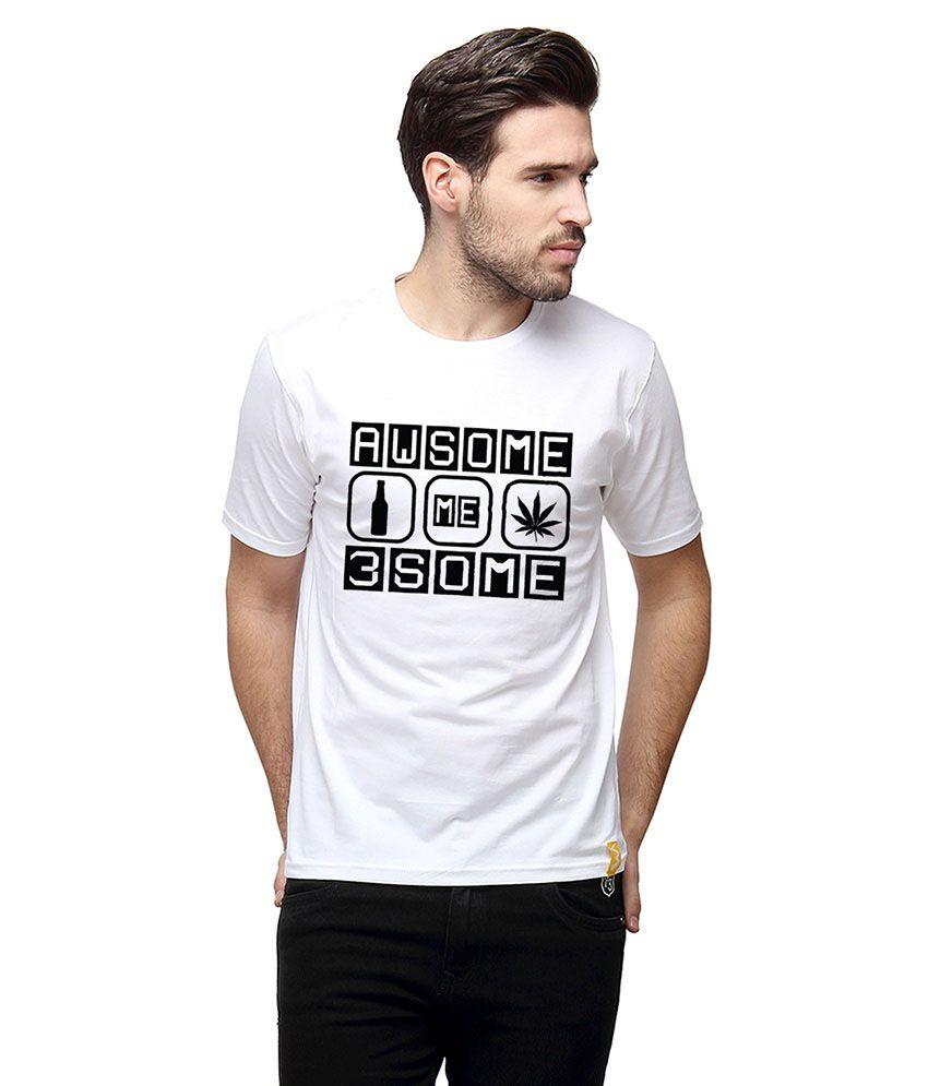 Campus Sutra White Round T Shirts