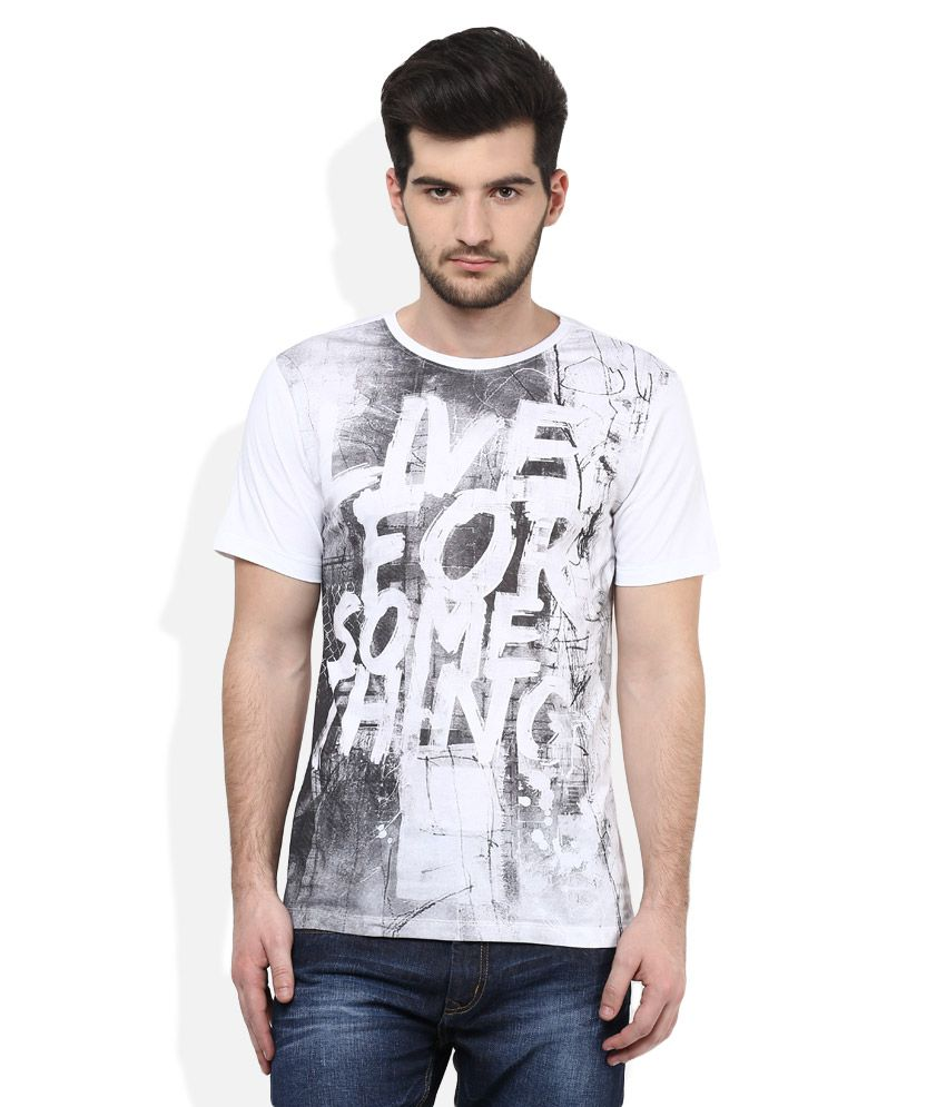 Colt White Round Neck Half Sleeves Printed T-Shirt