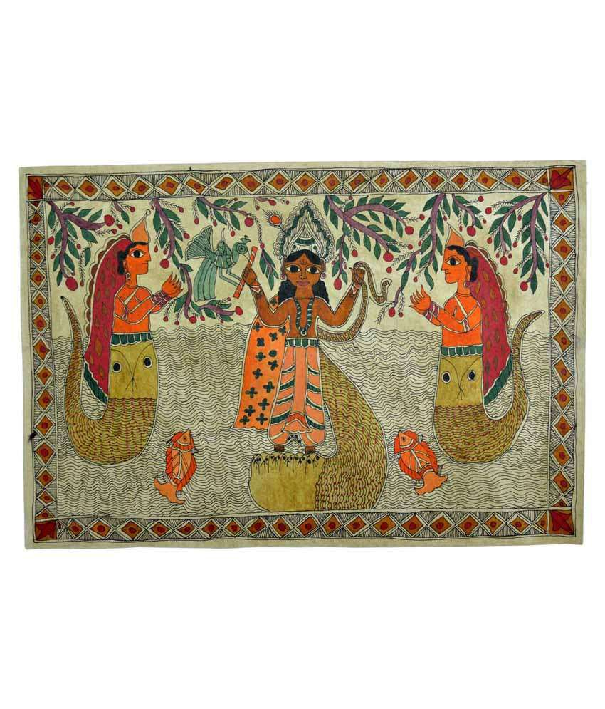 Craftuno Multicolour Lord Krishna Playing Flute Atop Kaliya Naag Painting