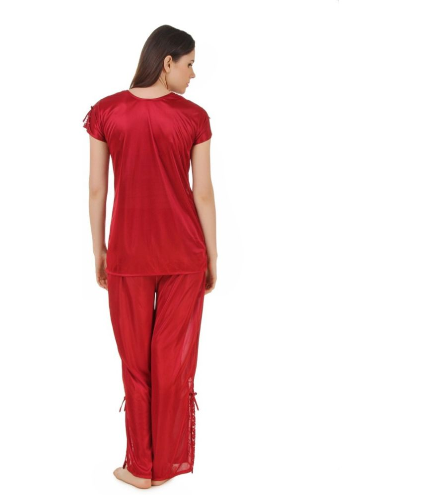 62f33a91fdb1 Buy CrazyLiner Maroon Satin Pajamas Online at Best Prices in India ...