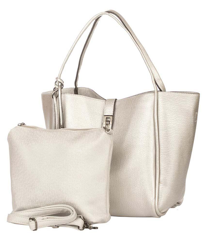 Vero Couture Silver P.U. Shoulder Bag