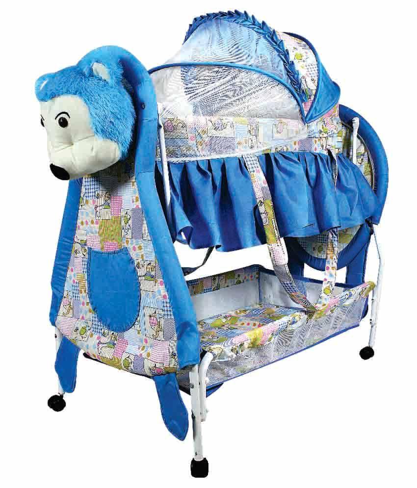Ehomekart Blue Teddy Deluxe Cradle With Mosquito Net