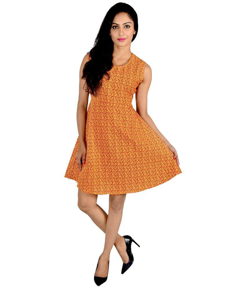Jhoomar Orange Cotton A Line Dress
