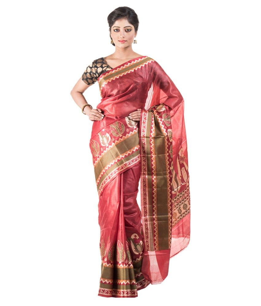 1c376802a Kosa Pure Silk Handwooven Sarees Brown and Pink Raw Silk Saree - Buy Kosa Pure  Silk Handwooven Sarees Brown and Pink Raw Silk Saree Online at Low Price ...